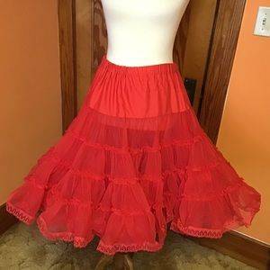 Vintage 60s red square dance pin up petticoat